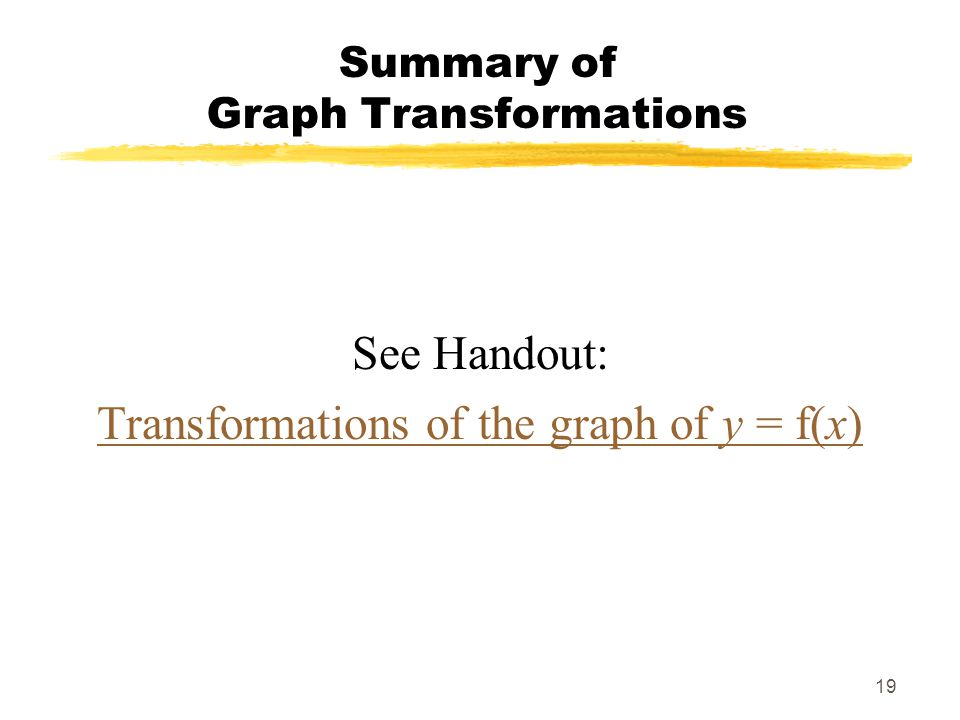 Summary of Graph Transformations
