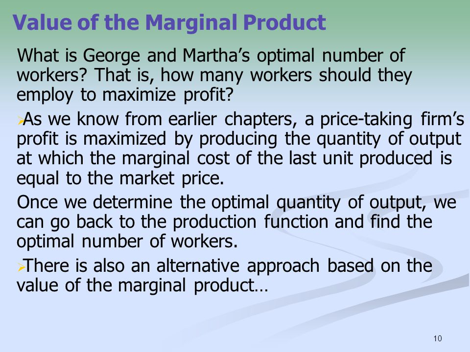Value of the Marginal Product