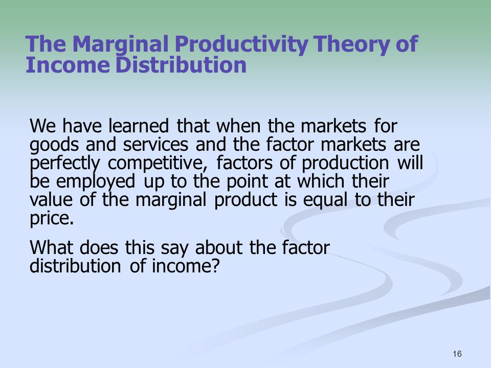 The Marginal Productivity Theory of Income Distribution
