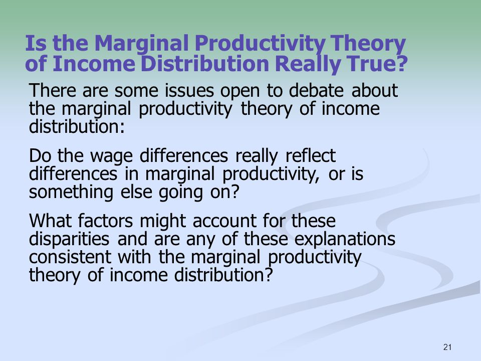 Is the Marginal Productivity Theory of Income Distribution Really True