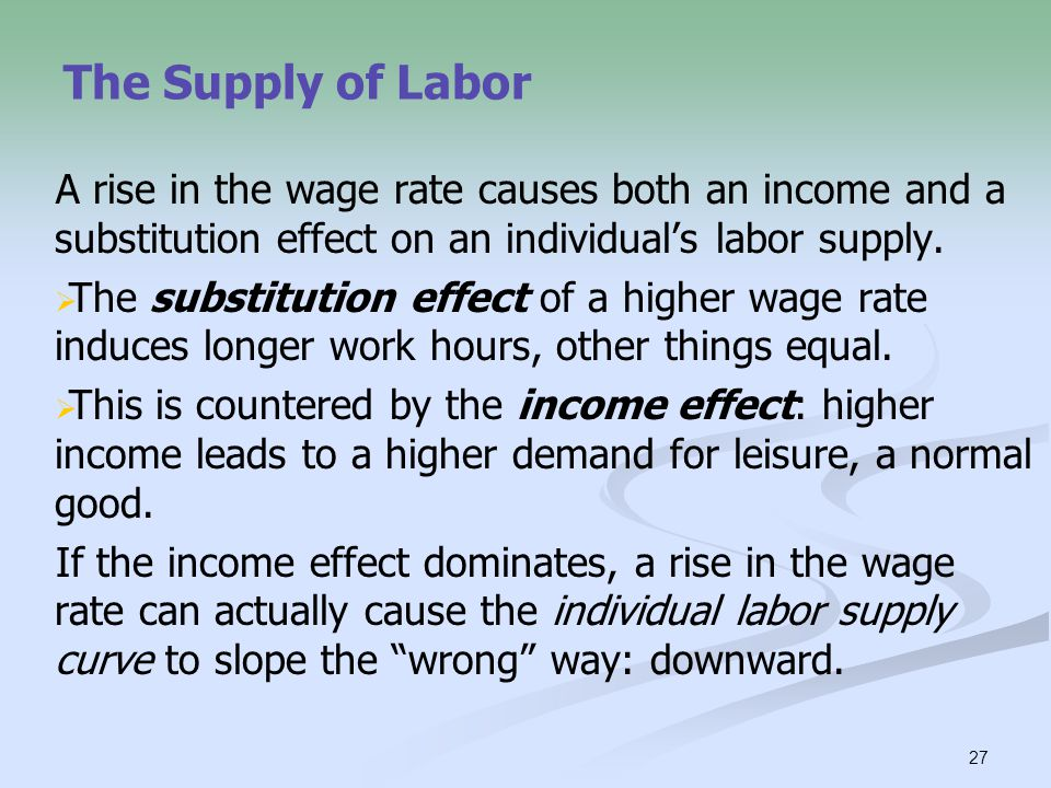 The Supply of Labor A rise in the wage rate causes both an income and a substitution effect on an individual's labor supply.