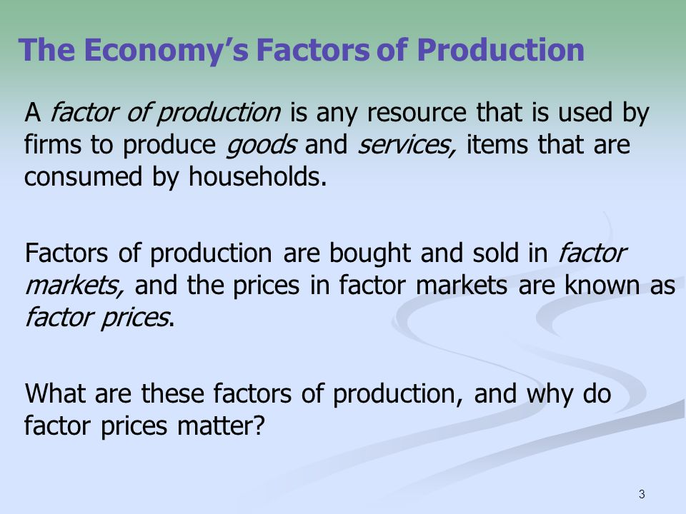 The Economy's Factors of Production