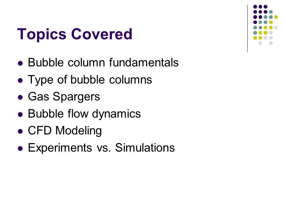 Topics Covered Bubble column fundamentals Type of bubble columns