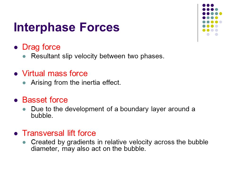 Interphase Forces Drag force Virtual mass force Basset force
