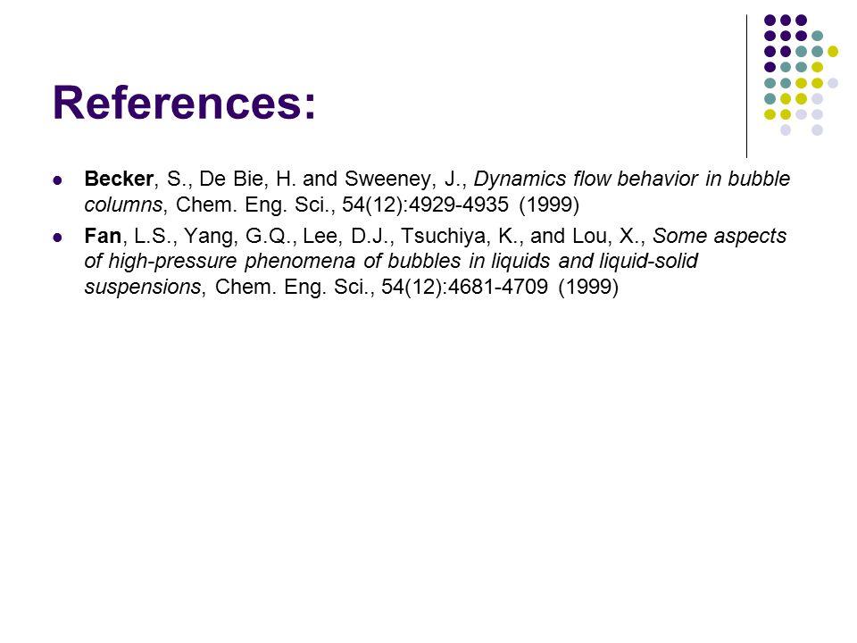 References: Becker, S., De Bie, H. and Sweeney, J., Dynamics flow behavior in bubble columns, Chem. Eng. Sci., 54(12):4929-4935 (1999)