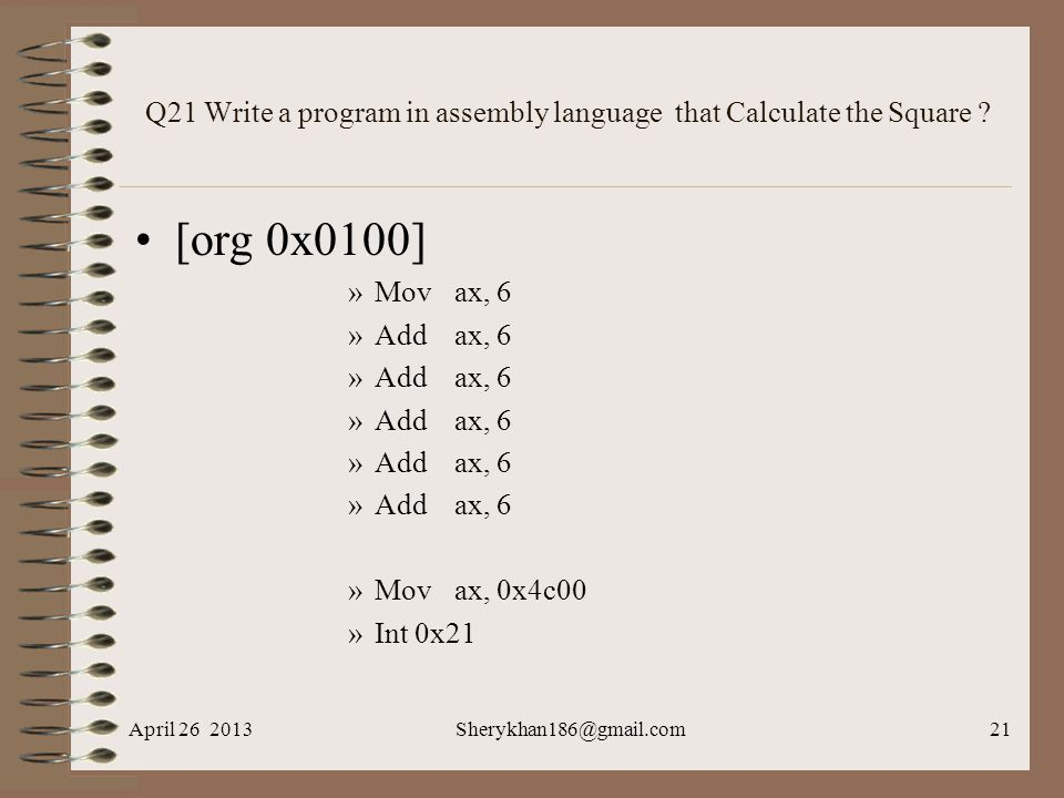 Q21 Write a program in assembly language that Calculate the Square