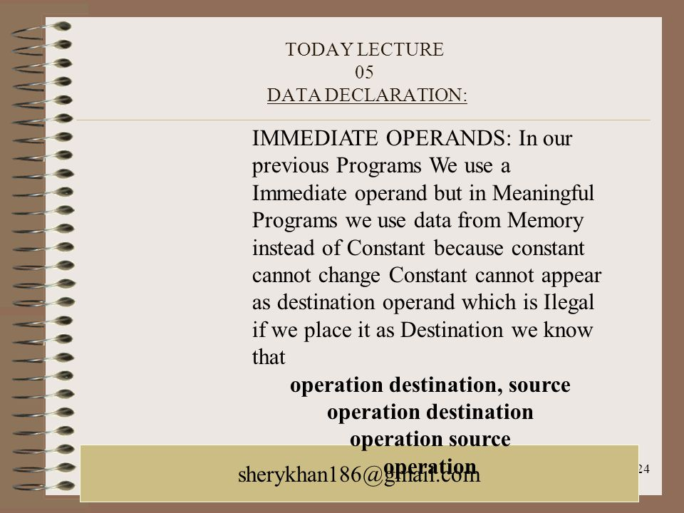 TODAY LECTURE 05 DATA DECLARATION: