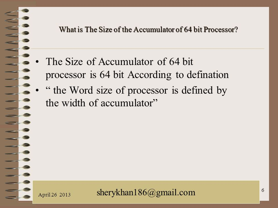 What is The Size of the Accumulator of 64 bit Processor