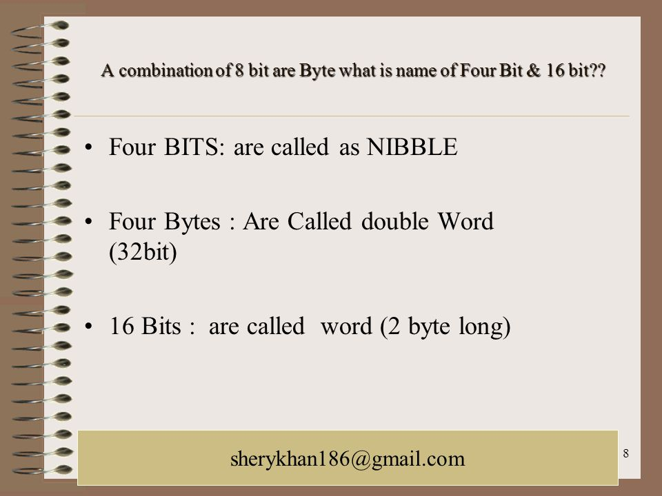 A combination of 8 bit are Byte what is name of Four Bit & 16 bit