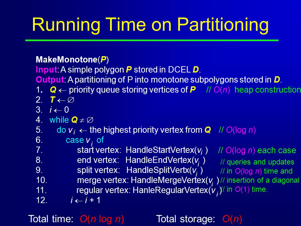 Running Time on Partitioning