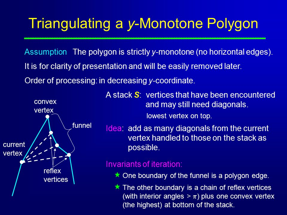 Triangulating a y-Monotone Polygon