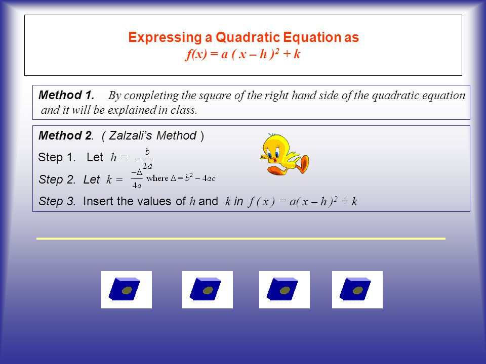 Expressing a Quadratic Equation as f(x) = a ( x – h )2 + k