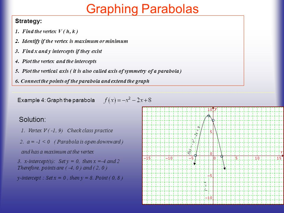 Graphing Parabolas Solution: Strategy: 1. Find the vertex V ( h, k )