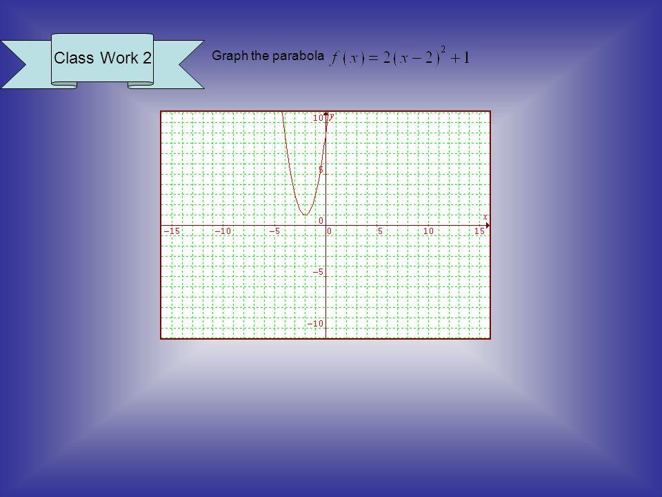 Class Work 2 Graph the parabola