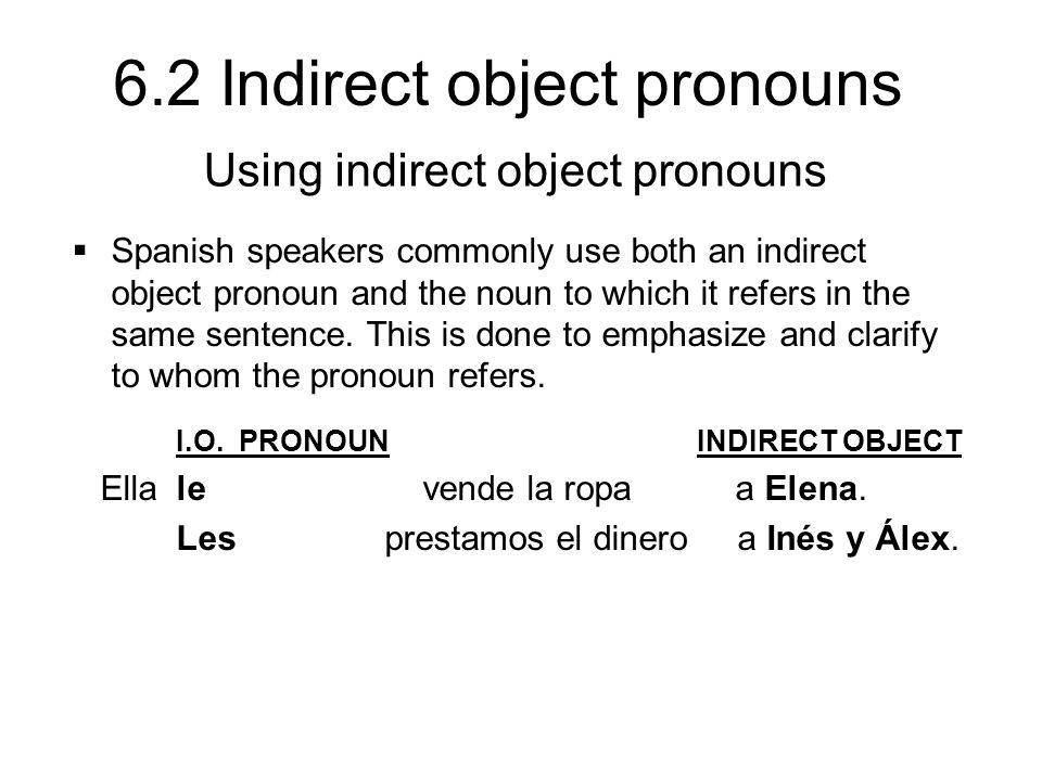 Using indirect object pronouns