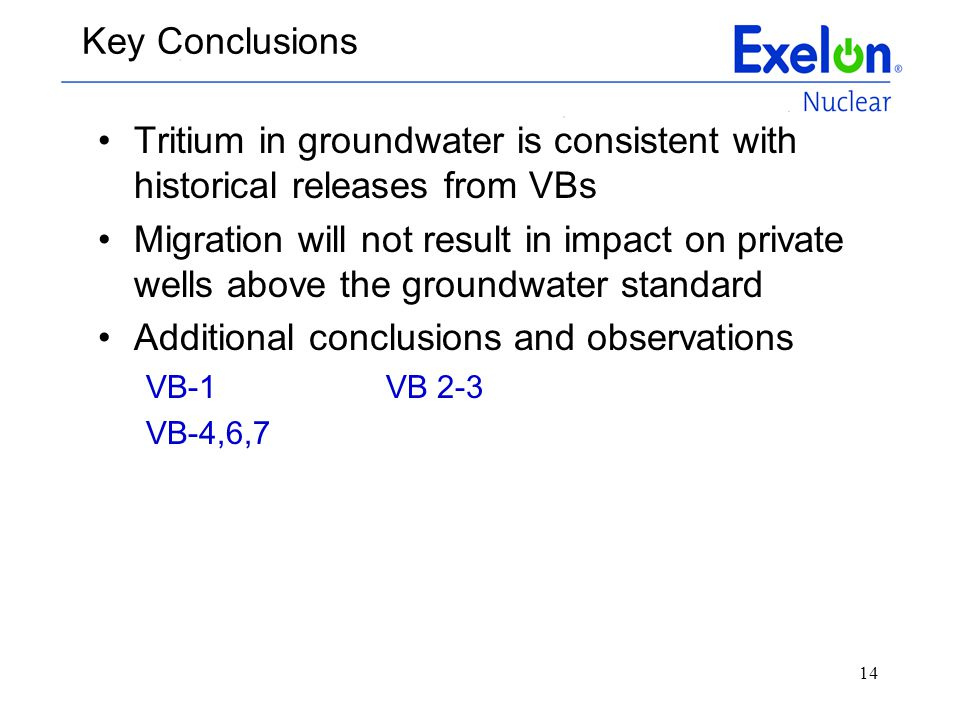 Tritium in groundwater is consistent with historical releases from VBs