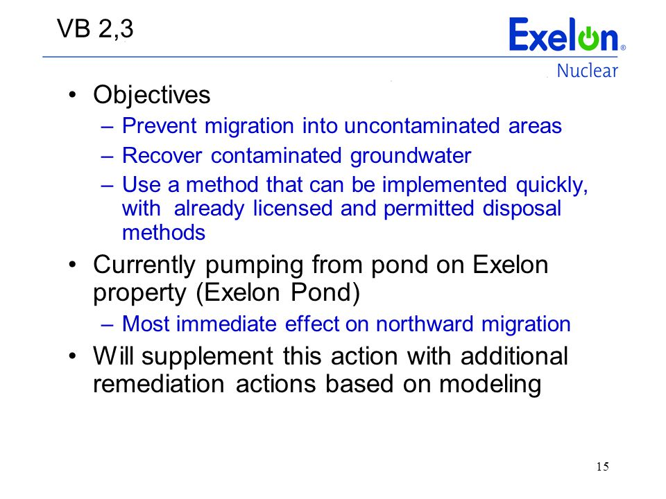 Currently pumping from pond on Exelon property (Exelon Pond)