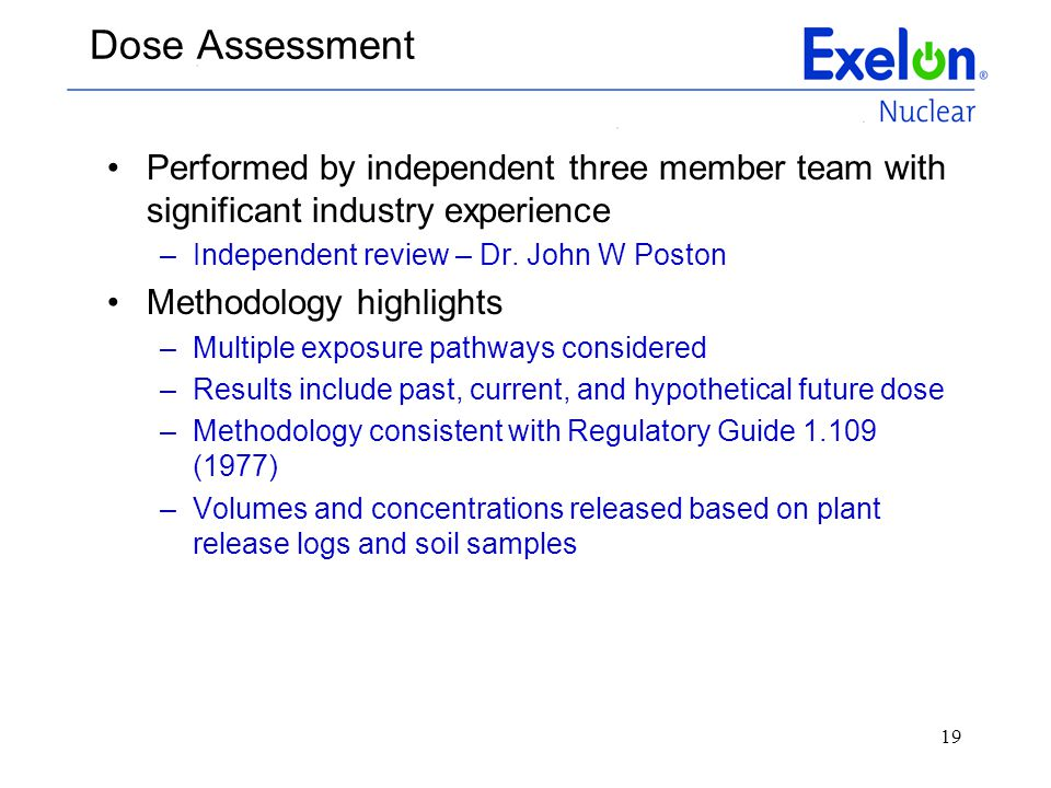 Dose Assessment Performed by independent three member team with significant industry experience. Independent review – Dr. John W Poston.