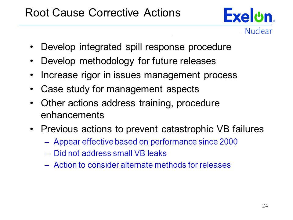 Root Cause Corrective Actions
