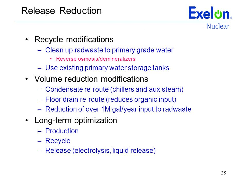 Release Reduction Recycle modifications Volume reduction modifications