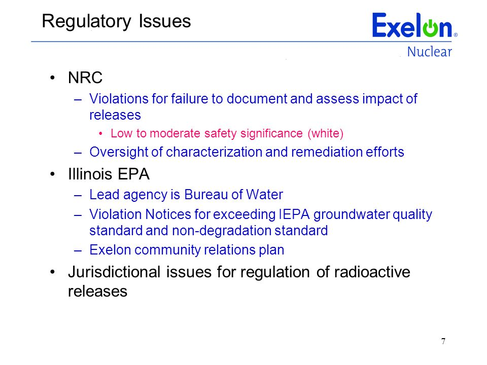 Regulatory Issues NRC Illinois EPA