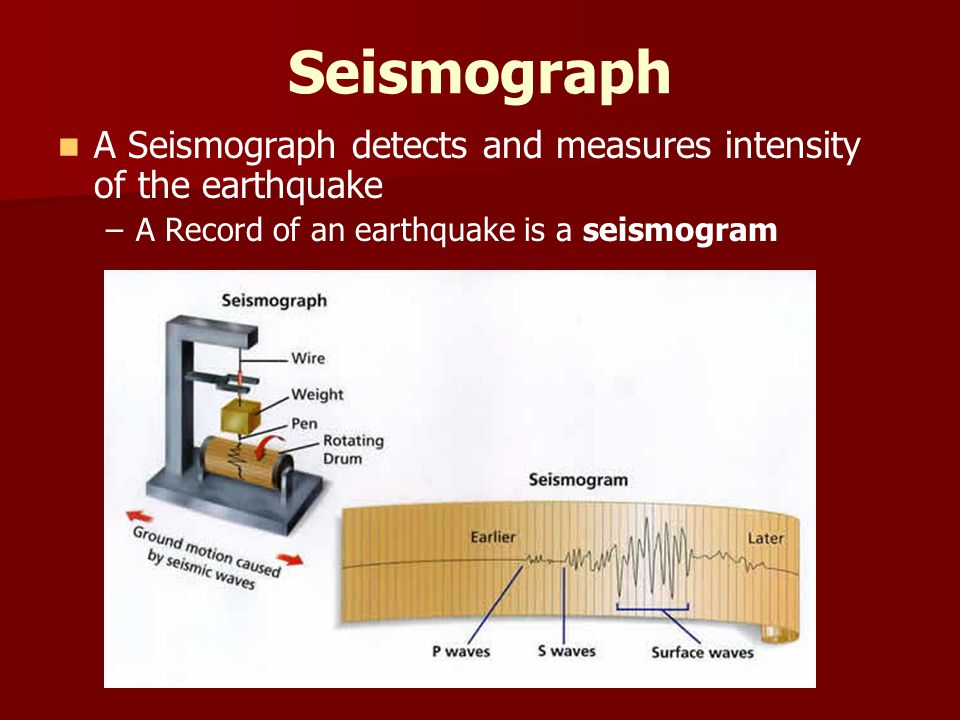 Seismograph A Seismograph detects and measures intensity of the earthquake.