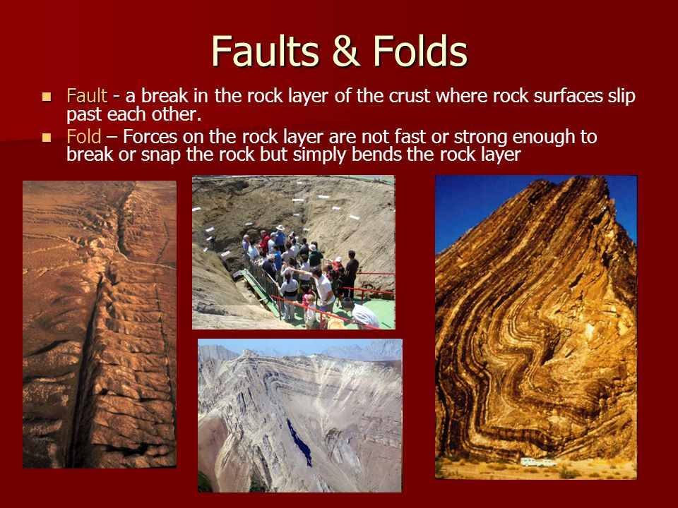 Faults & Folds Fault - a break in the rock layer of the crust where rock surfaces slip past each other.