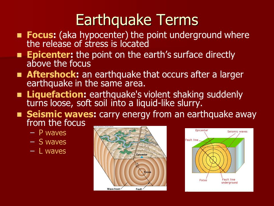 Earthquake Terms Focus: (aka hypocenter) the point underground where the release of stress is located.
