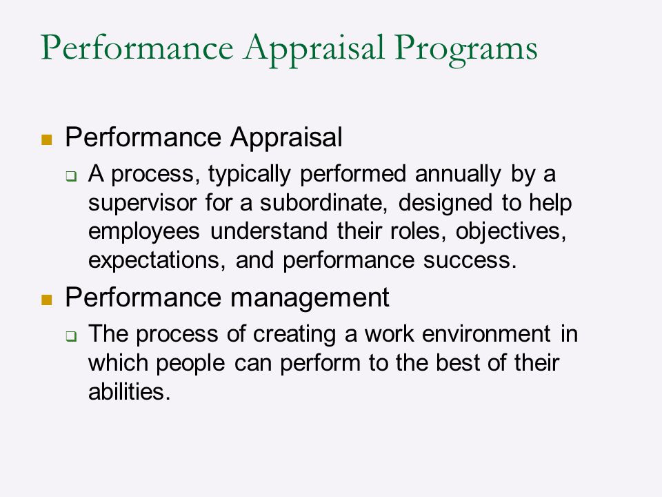 Performance Appraisal Programs