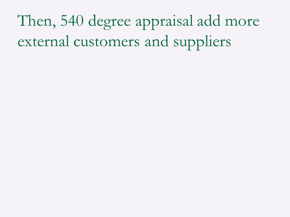 Then, 540 degree appraisal add more external customers and suppliers