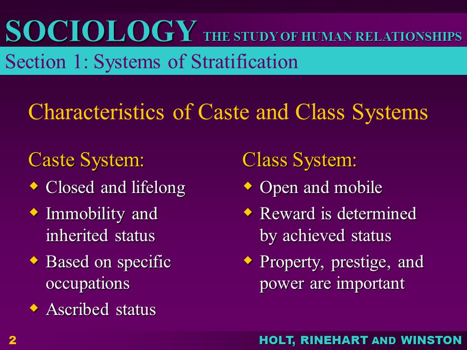 Characteristics of Caste and Class Systems