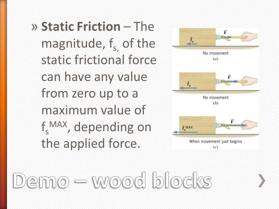 Static Friction – The magnitude, fs, of the static frictional force can have any value from zero up to a maximum value of fsMAX, depending on the applied force.