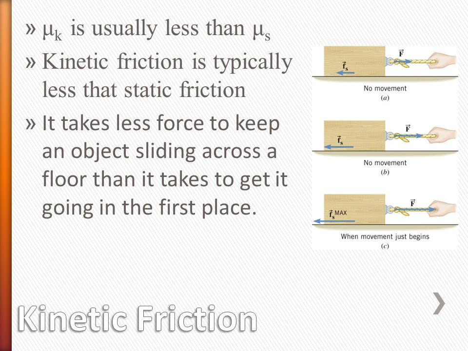 Kinetic Friction μk is usually less than μs