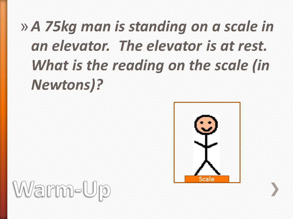 A 75kg man is standing on a scale in an elevator