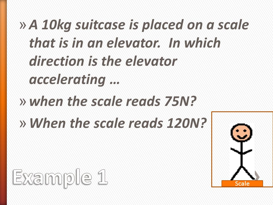 A 10kg suitcase is placed on a scale that is in an elevator
