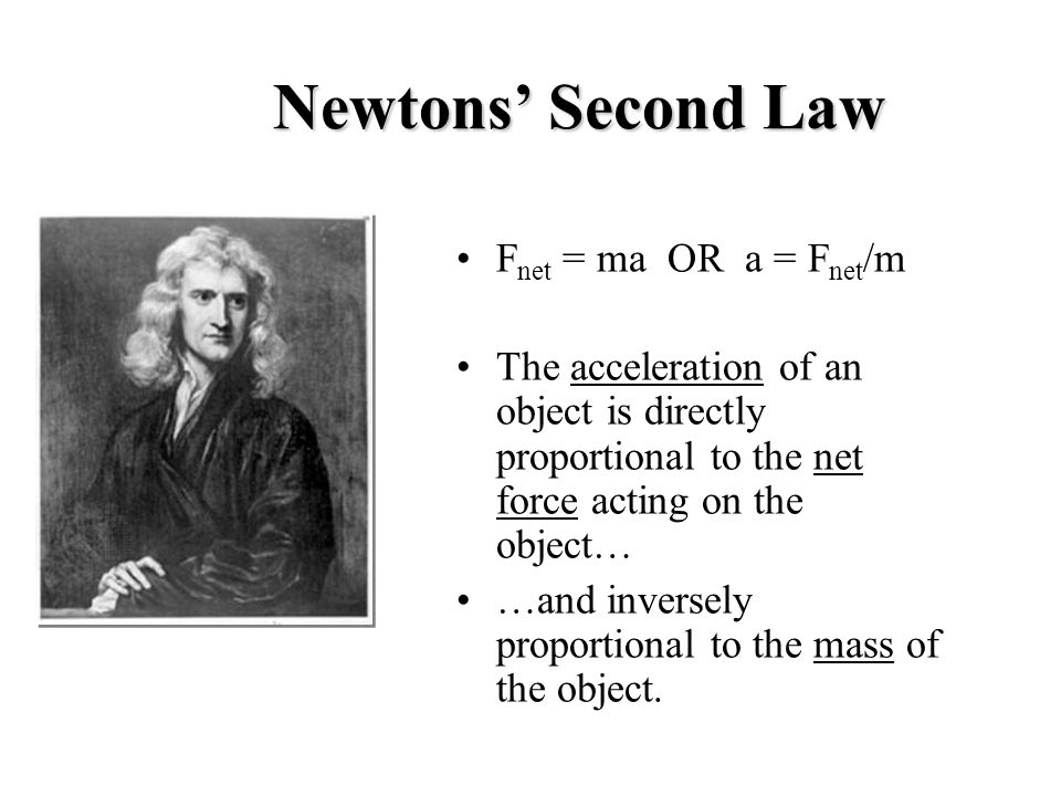 Newtons' Second Law Fnet = ma OR a = Fnet/m