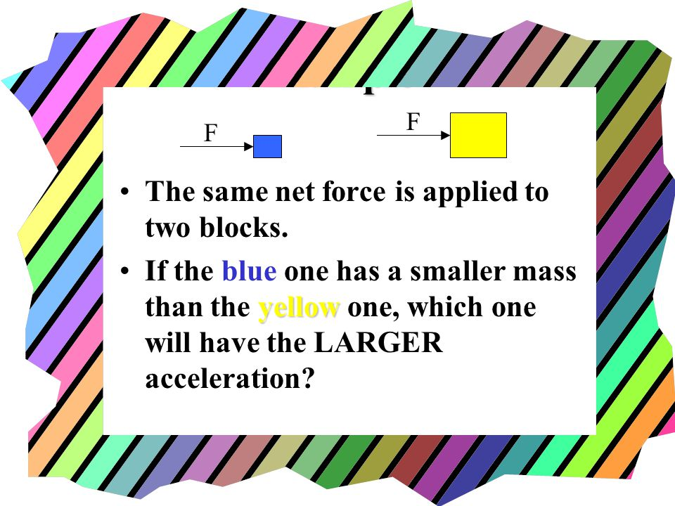 Example The same net force is applied to two blocks.