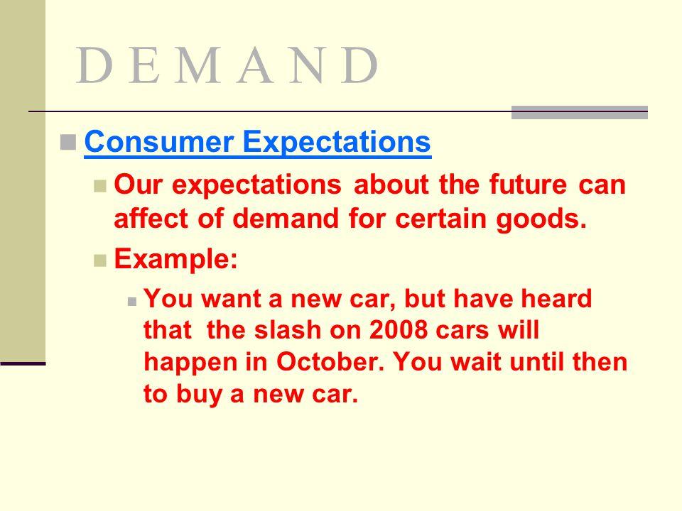 D E M A N D Consumer Expectations