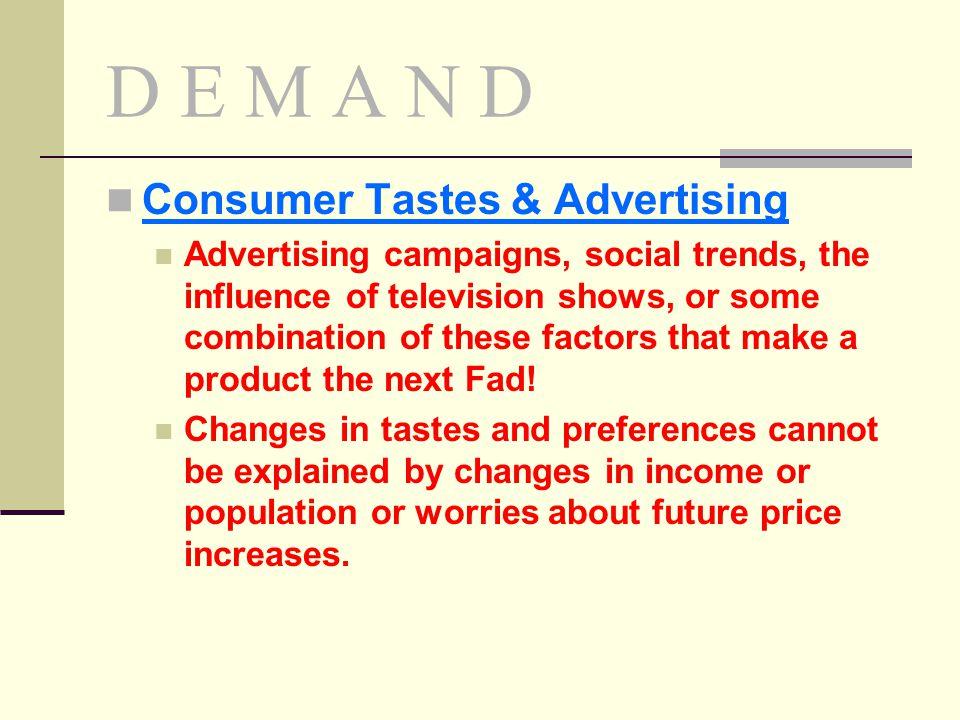 D E M A N D Consumer Tastes & Advertising