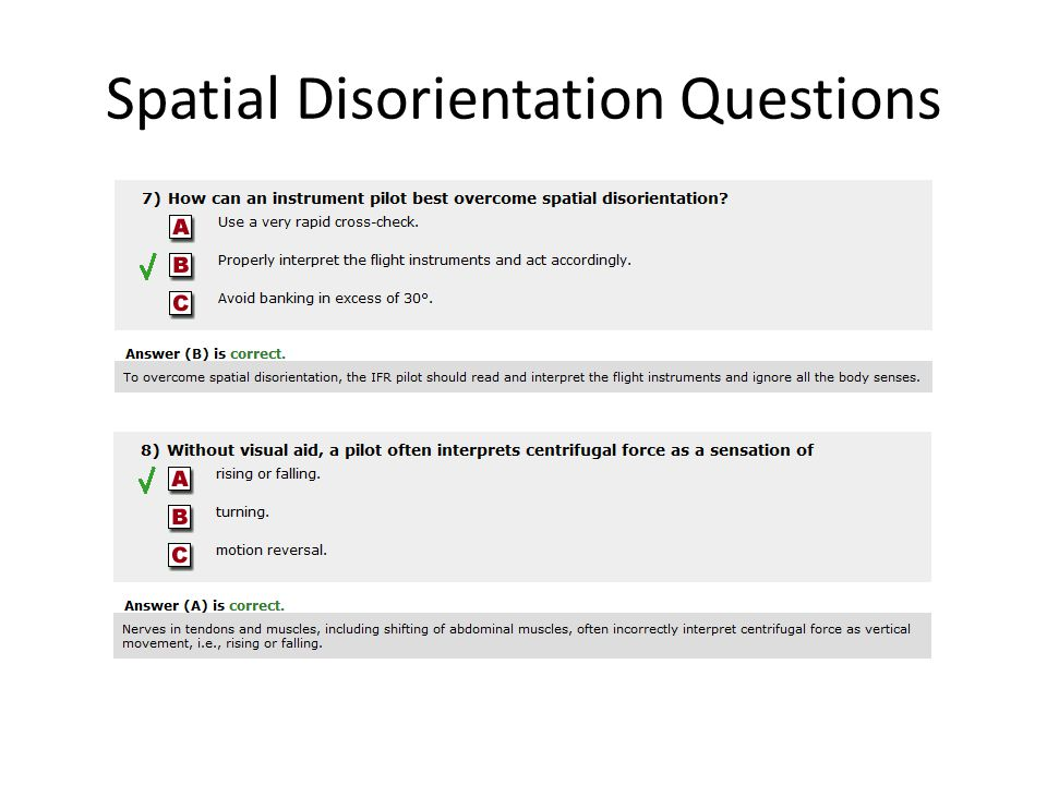 Spatial Disorientation Questions