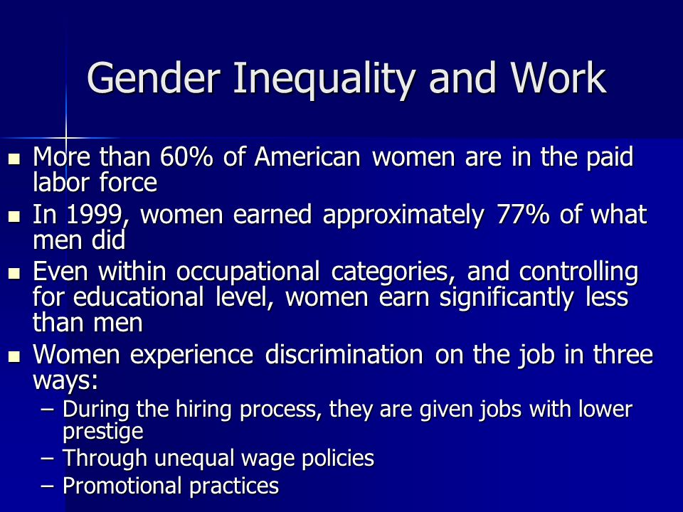 workplace inequalities and gender Workplace gender equality agency, unpaid care work and the labour market (november 2016) p 4.