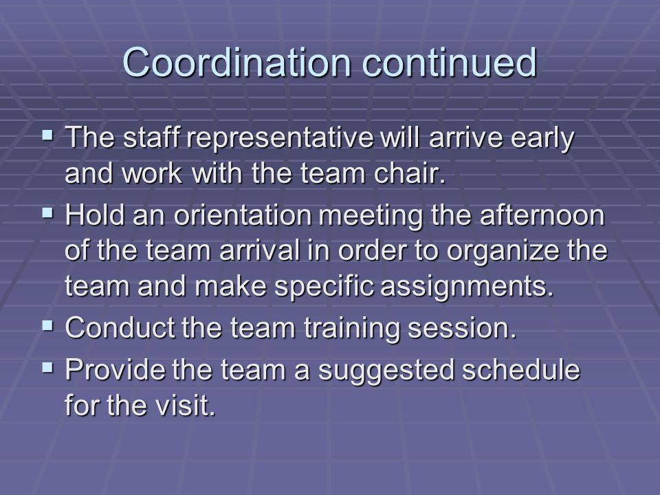 Coordination continued