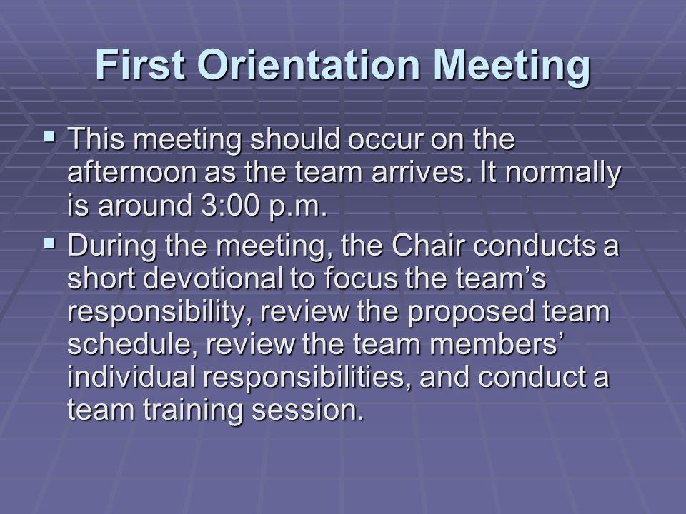 First Orientation Meeting