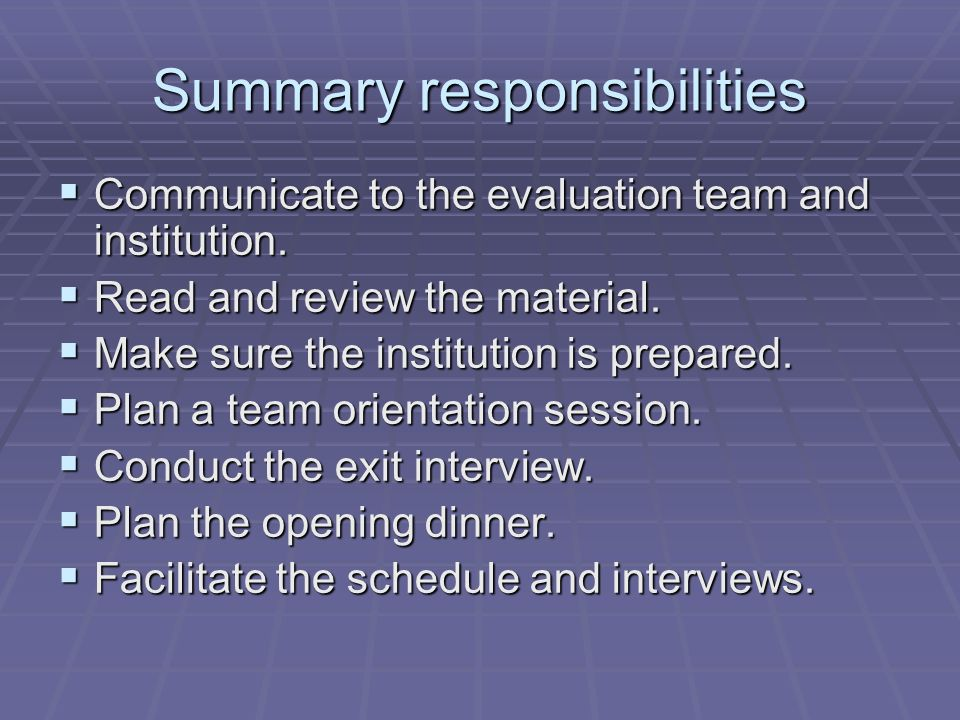 Summary responsibilities