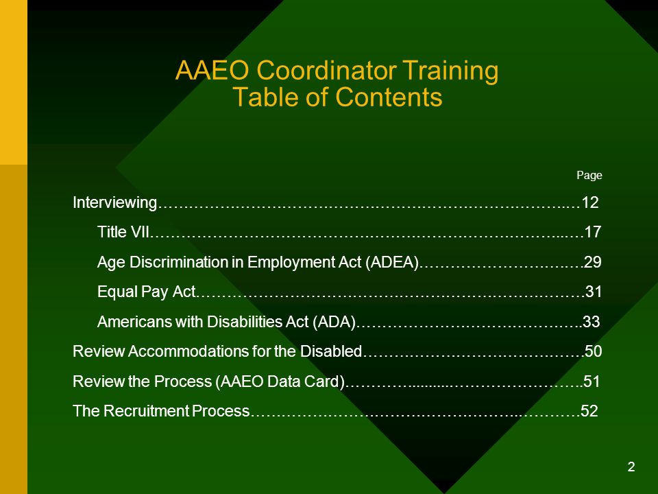 AAEO Coordinator Training Table of Contents