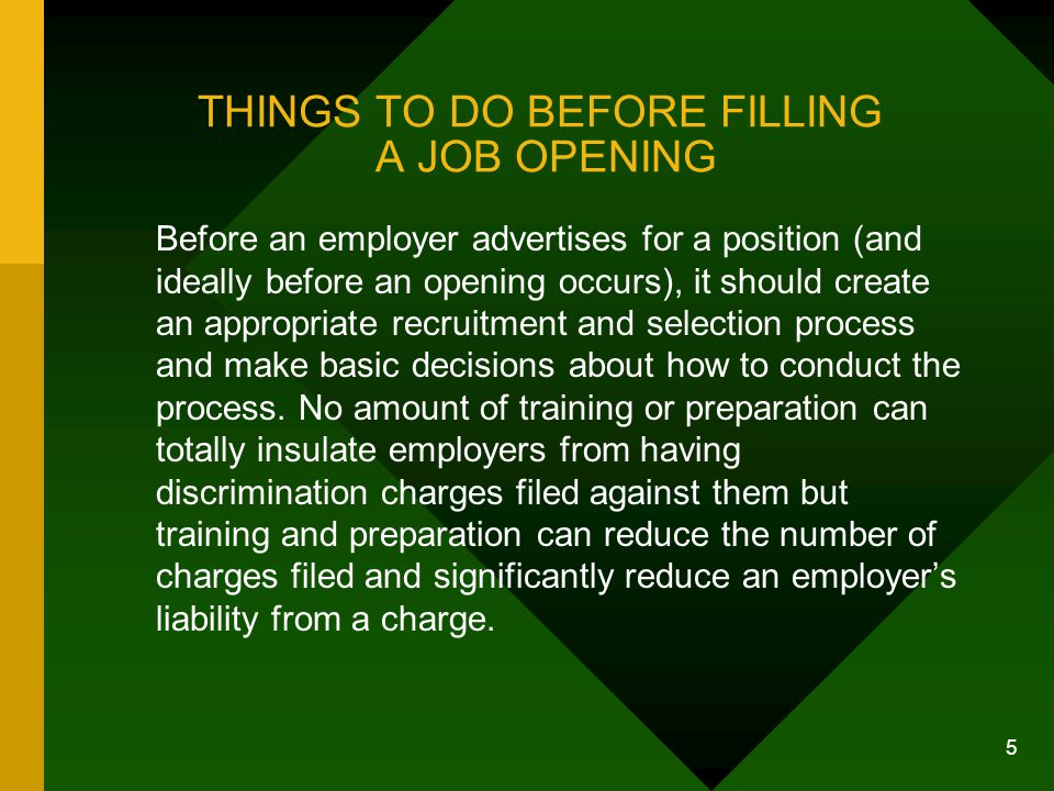 THINGS TO DO BEFORE FILLING A JOB OPENING