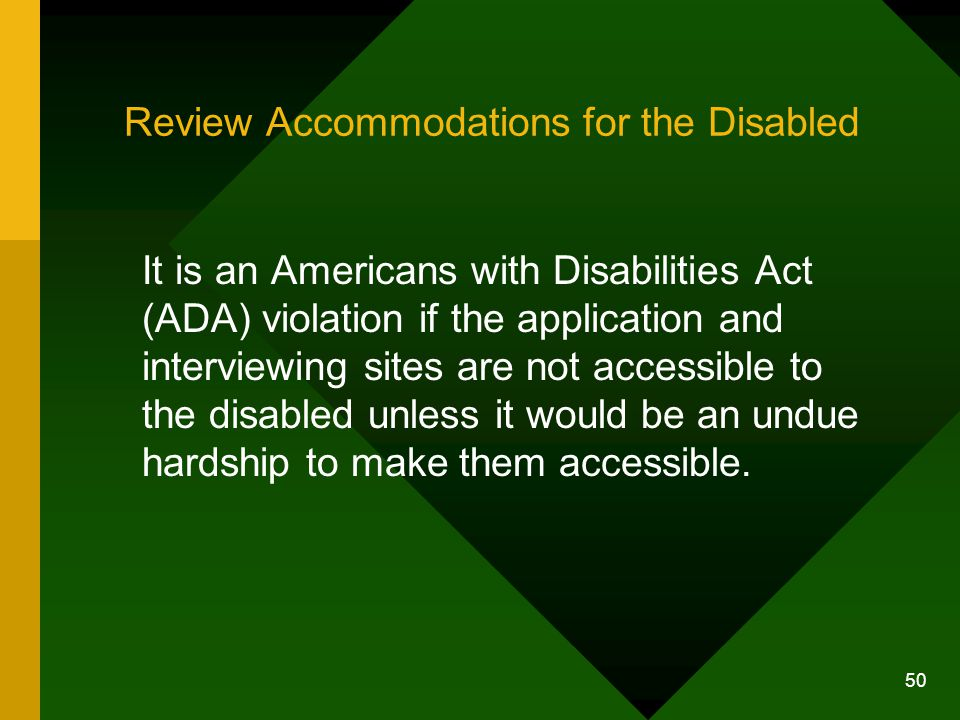 Review Accommodations for the Disabled
