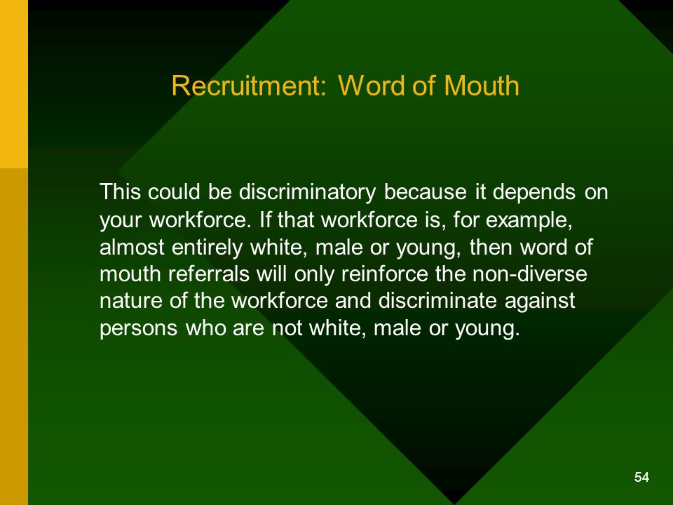 Recruitment: Word of Mouth