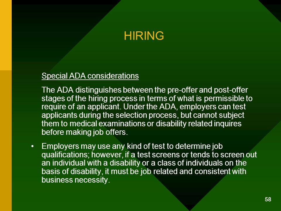 HIRING Special ADA considerations.