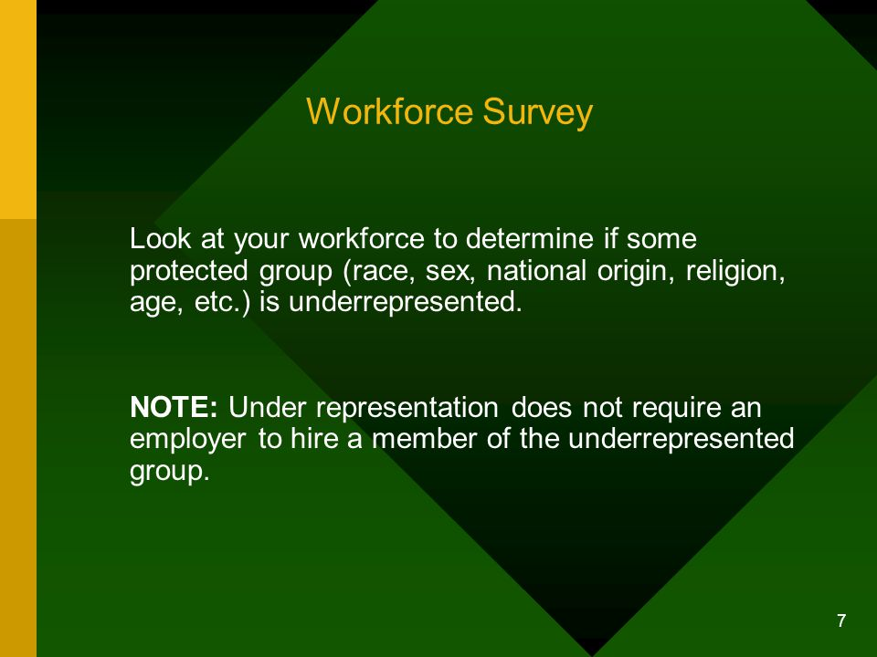 Workforce Survey Look at your workforce to determine if some protected group (race, sex, national origin, religion, age, etc.) is underrepresented.